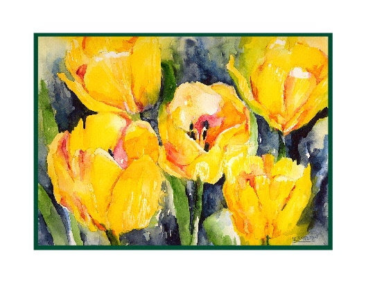 Eight Watercolor Tulip Note Cards - watercolorwork