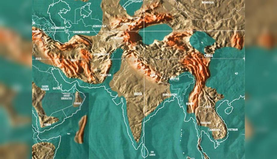 Futuro mapa post-apocalíptico de la India y las zonas circundantes.