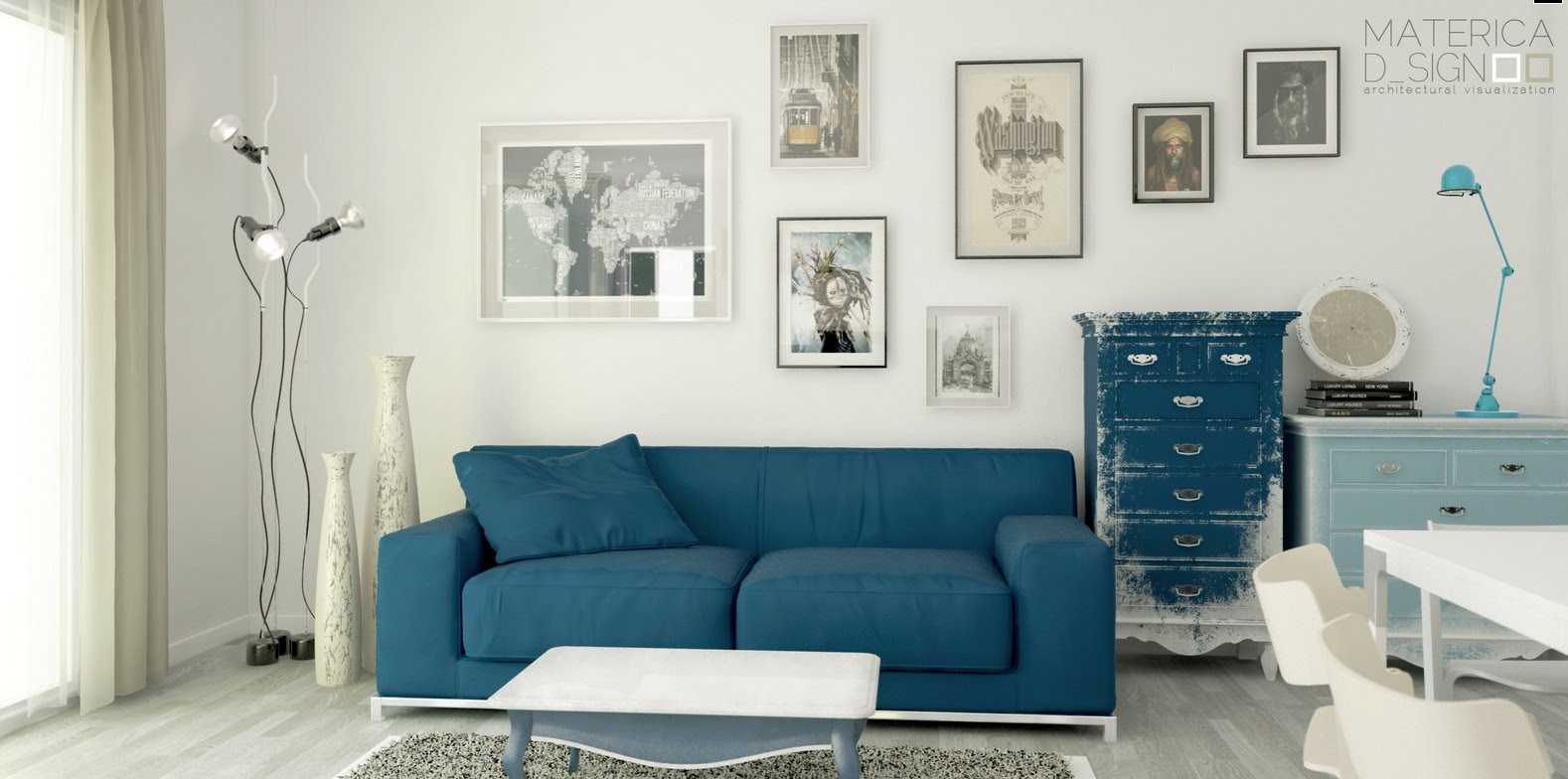Blue Sofa Distressed Dresser Interior Design Ideas