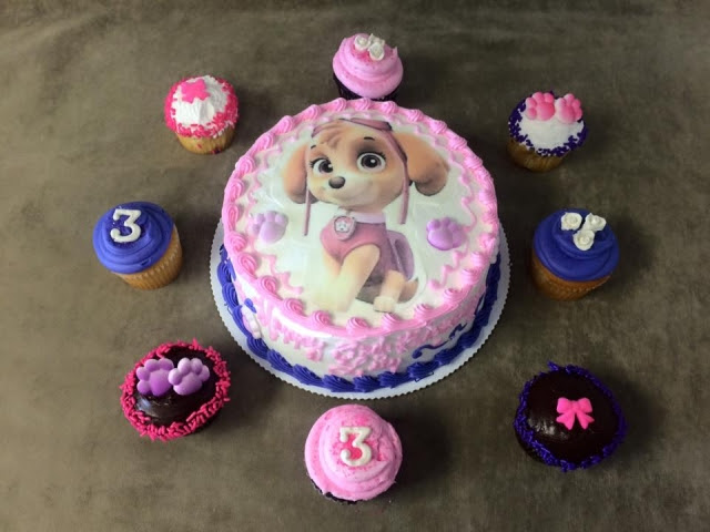 Paw Patrol Edible Image On 8 Cake With Custom Cupcakes