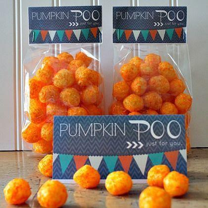 Halloween gift ideas like pumpkin poo. Printable tags