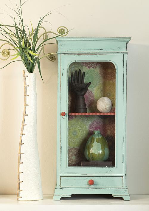 Mini Glass Door Decoupaged Cabinet Project By Decoart
