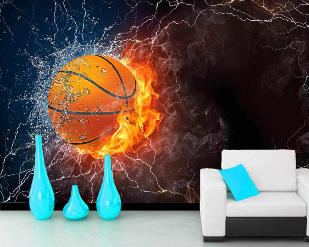 Papelデ比べバスケットボール水火災ボールスポーツ3d壁紙 リビング