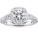 Pompeii 3 - 1 1/2ct Cushion Halo Diamond Engagement Ring 14K White Gold Round Brilliant Cut