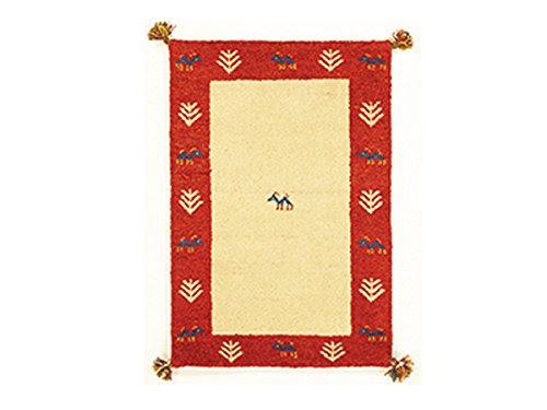 インド敷物 キリムマット GABBEH D1 40×40 BE/RE ベージュ×レッド (代引き不可)