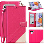 LG Stylo 6 Phone Case, [Pink] Infolio Wallet Credit Card Slot ID Cover, View Stand [with Wrist Strap Lanyard] for LG Stylo 6 (LMQ730MM, LMQ730TM)