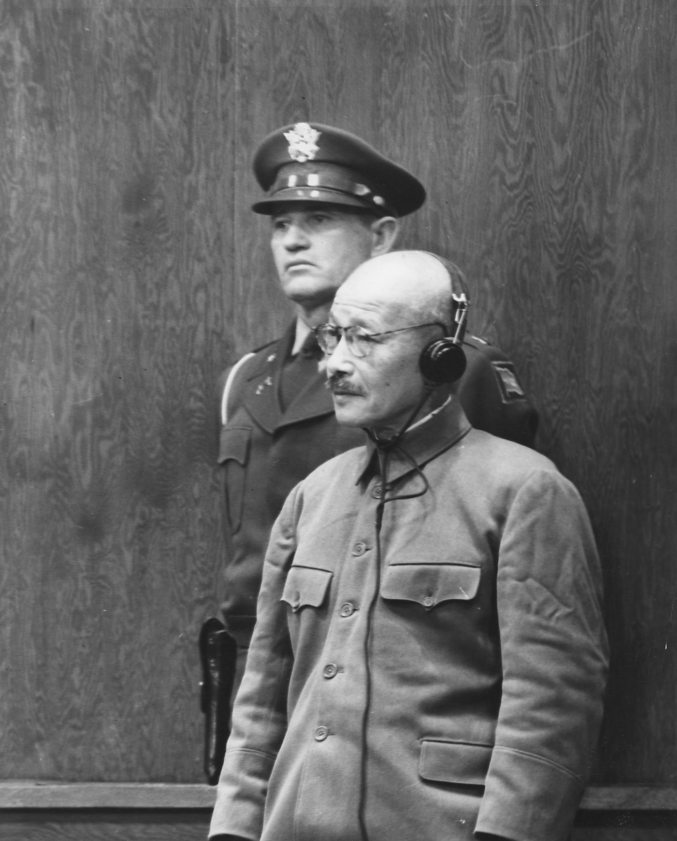 Hideki Tojo receiving his death sentence, Tokyo, Japan, 12 Nov 1948