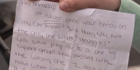 Woman With Prosthetic Leg Finds A Super Nasty Note On Her Car