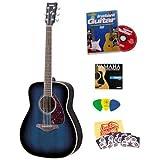 Yamaha FG720S Ocean Blue Burst Folk Acoustic Guitar Bundle with Instructional DVD, Picks, Strap, Strings, Pick...