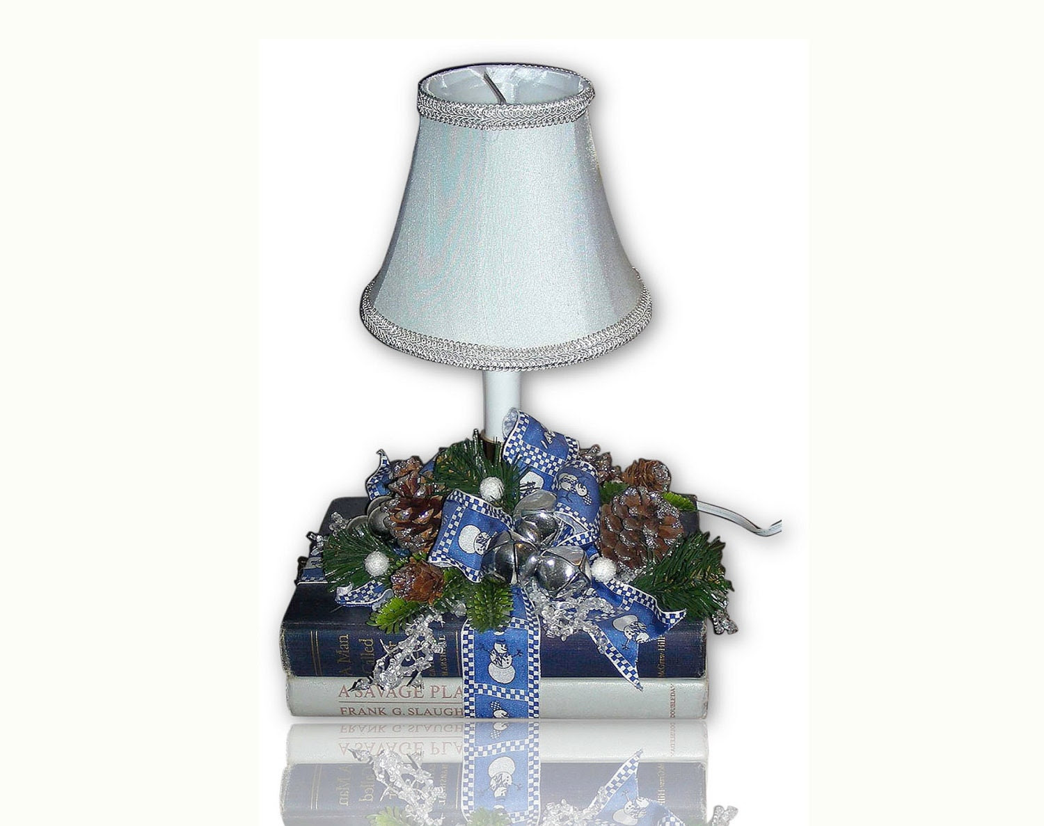 Tiny Table Lamps on Blue Snowman Book Lamp Country Christmas Winter Small Table