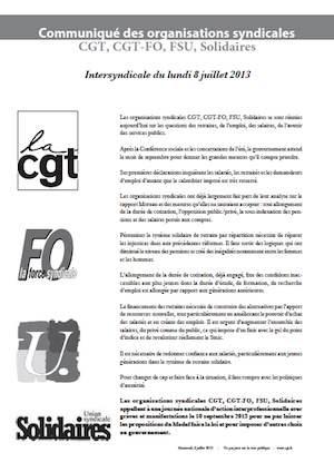 communique CGT FO FSU SOL 8 juillet
