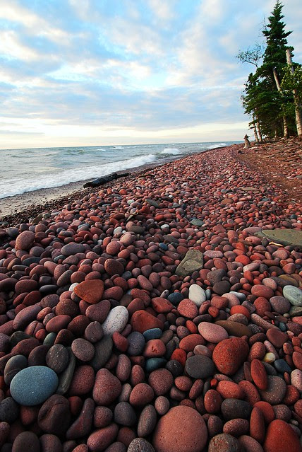 A rocky beach scene.
