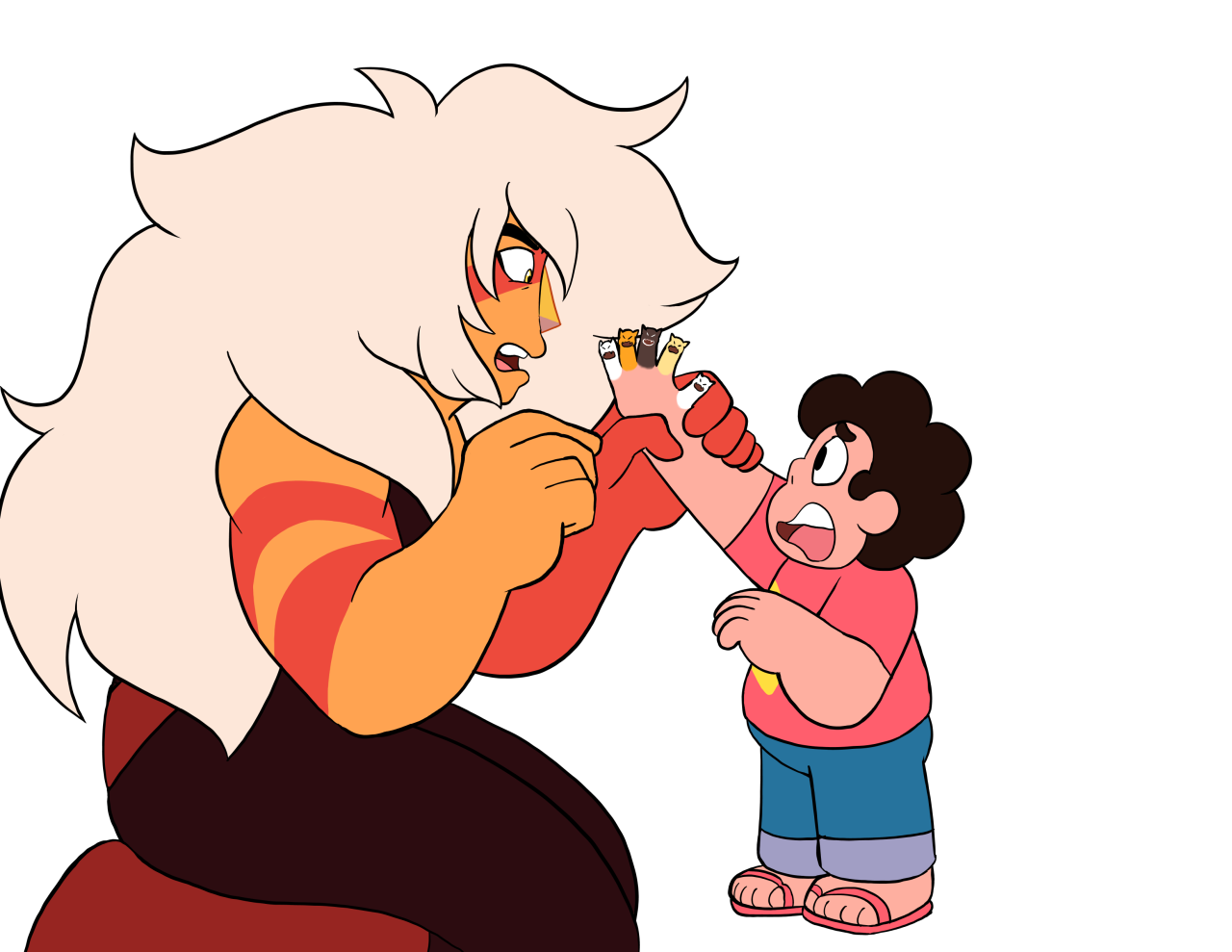For @emma-swoon Steven: Lapis and Peridot were trying to teach me how to shapeshift but now I can't turn back! Jasper: Steven, why would you have the two gems that can't shapeshift try to teach you?