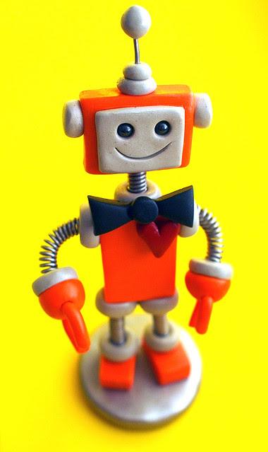 Robot Wedding Cake Topper Orange and Blue Bots