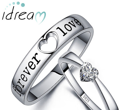 Black Forever Love Engrave Wedding Band and Heart-Cut CZ Promise Ring Set for Couples
