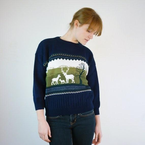 Vintage Reindeer Sweater / Deer Sweater