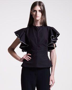 Alexander McQueen Ruffle-Sleeve Blouse