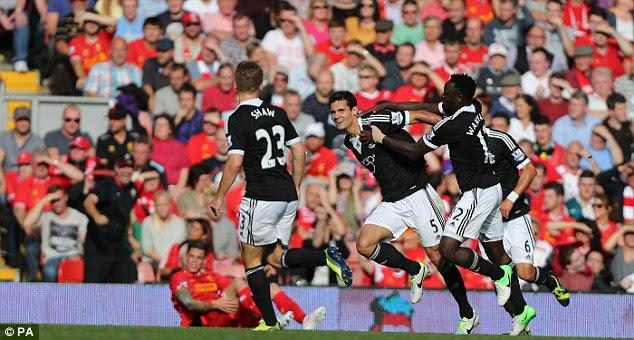 Brilliant win: Dejan Lovren scored the only goal of the game as Southampton ended Liverpool's unbeaten start to the season