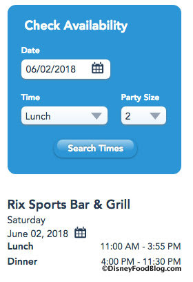 Rix Sports Bar & Grill Calendar and Hours screenshot
