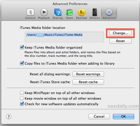 Change iTunes Library Location