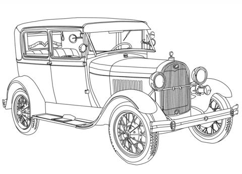 Ausmalbild 1928 Ford Model A Ausmalbilder Kostenlos Zum Ausdrucken