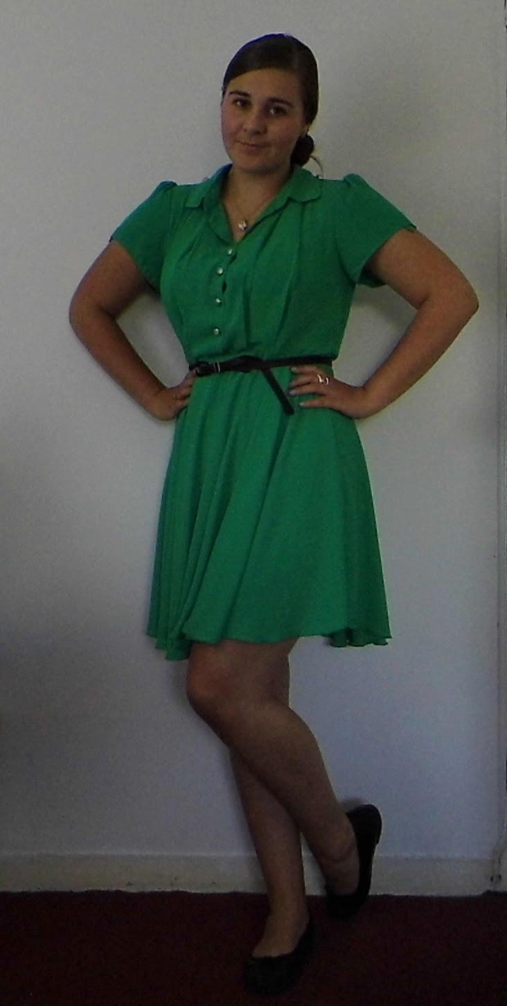 Green Tea Dress, Betty London flats