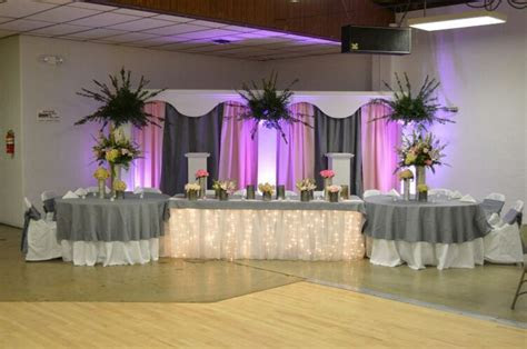 Light Pink and Gray Wedding Head Table Backdrop by Twig