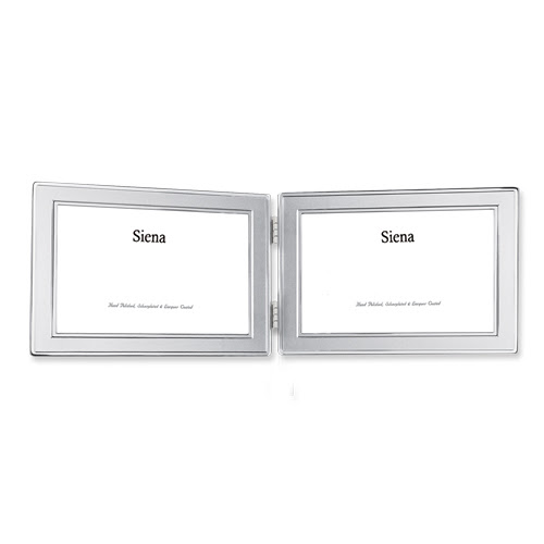Silver Plated 4x6 Horizontal Double Photo Frame