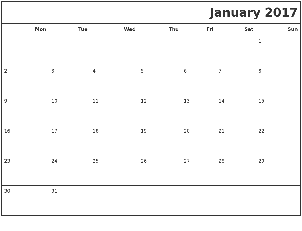 March calendar 2017 starting monday