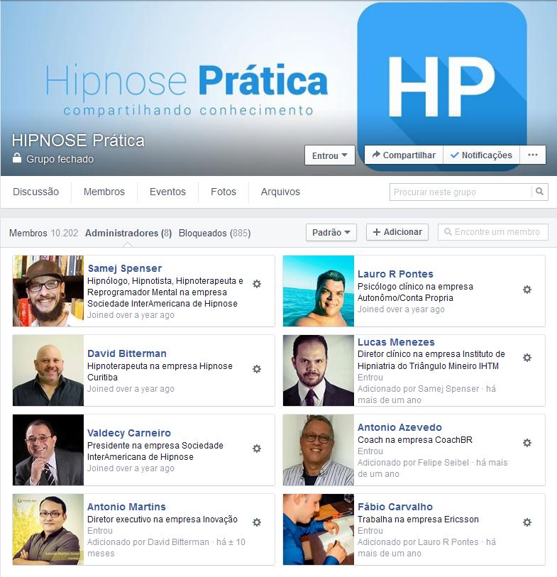 """SCREENSHOT: Grupo """"HIPNOSE Prática"""" no Facebook"""