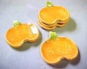 Cute Orange Pumpkin Tea Bag Holder Handy Little Spoon Rest  Fall Thanksgiving Decorative Green TopKnot - potterybyAnita