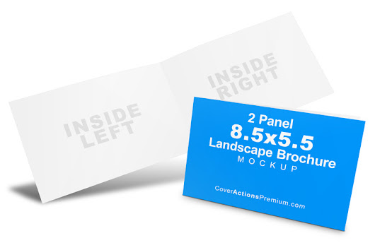 4 Page 8.5 x 5.5 Landscape Brochure Mockup | Cover Actions Premium | Mockup PSD Template