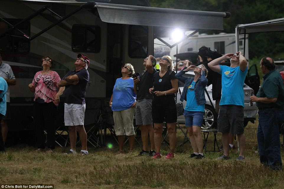 Pictured is the last few moments before the total eclipse at the Rosencrans Memorial airport near St Josephs Missouri as darkness fell