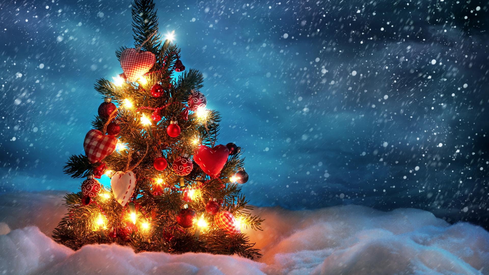 Snowing Heavily Over The Christmas Tree Hd Wallpaper