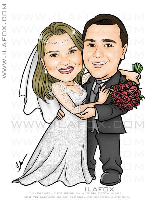 Caricatura de noivos, colorida, corpo inteiro, noivinha abraçada com buquê, caricatura para casamento, by ila fox