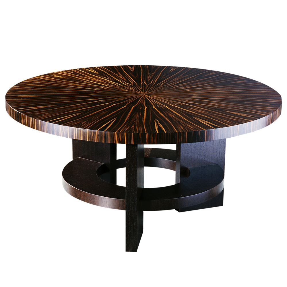 Fifth Avenue New York Art Deco Style Round Dining Table With Massacar Ebony Veneer James Salmond Furniture