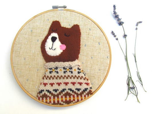 Textile Illustration Bear Embroidery Hoop Art Textile