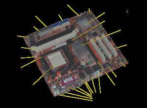 English: labeled diagram of Acer E360 Socket 9...