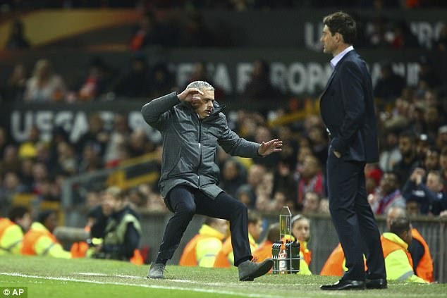 At one point Mourinho lost his balance and almost fell over on the touchline at Old Trafford