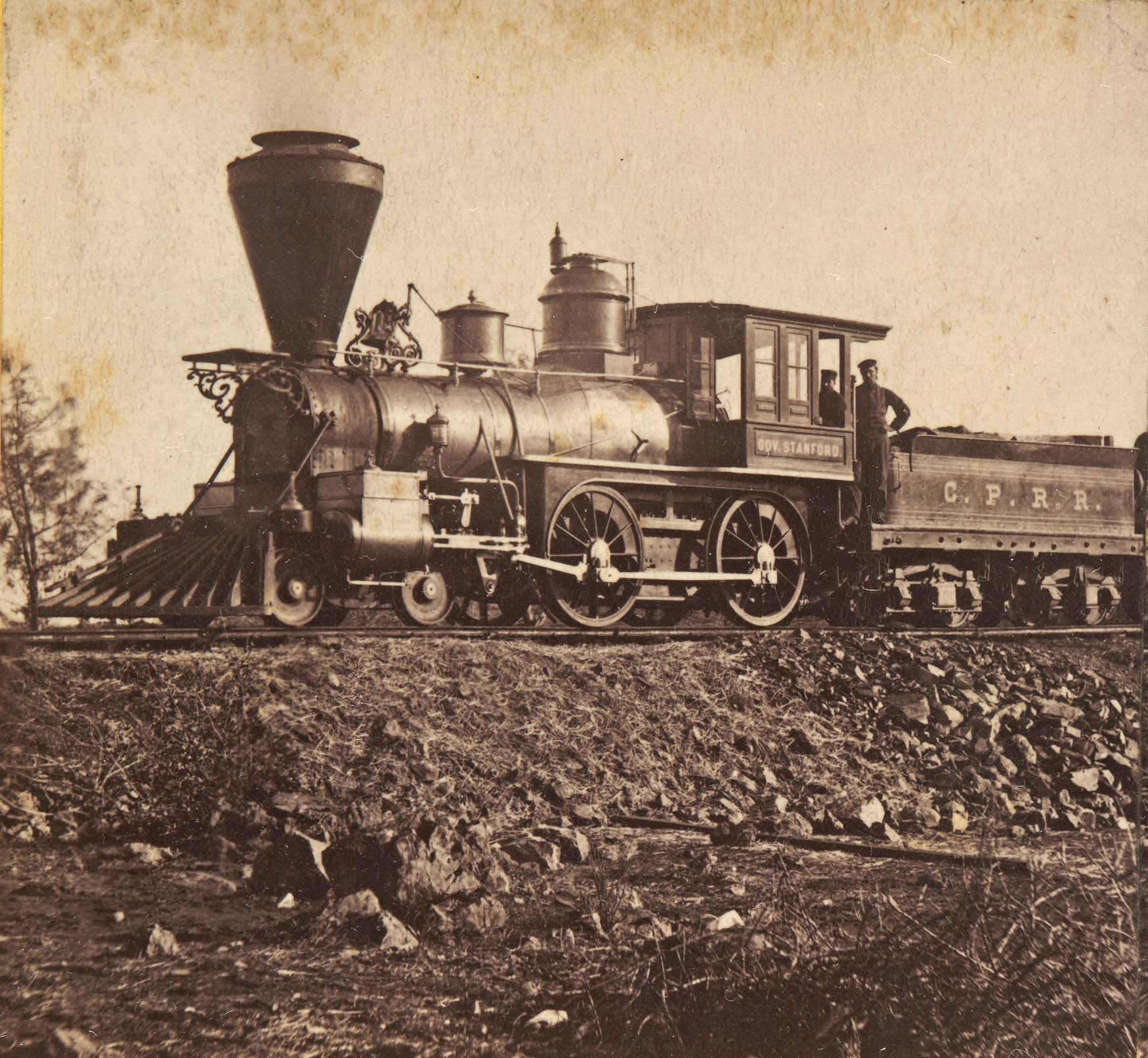 Alfred A. Hart, 'Locomotive Gov. Stanford,' ca. 1865.  Huntington Library, Art Collections, and Botanical Gardens.
