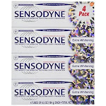 Sensodyne Toothpaste, Maximum Strength with Fluoride, Extra Whitening - 4 pack, 6.5 oz packs