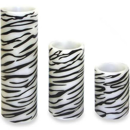 Brite Star 3 Zebra Print Battery Flameless Led Flicker Wax Pillar
