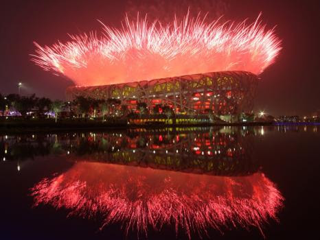 Fireworks at the 2008 Olympics Opening Ceremony. Credit: Clive Rose, Getty Images