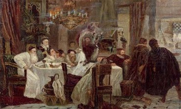 Marranos: Secret Seder in Spain during the times of inquisition, painting by Moshe Maimon.