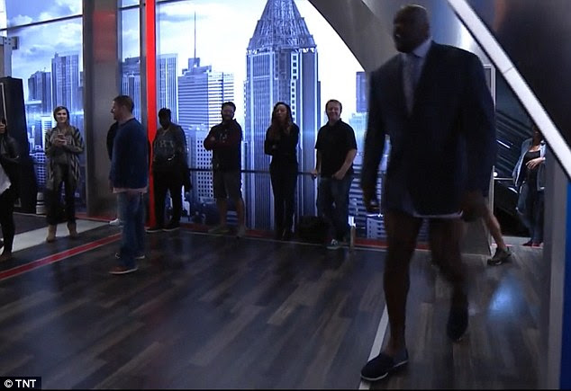 Shaquille O'Neal (right) arrived on the set of Inside the NBA on Thursday night in his underwear but no pants