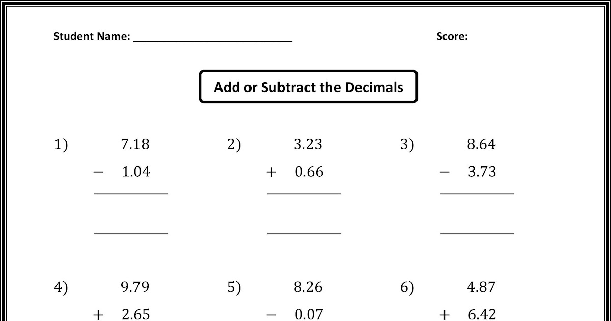 5th Grade Math Worksheets Long Division With Decimals
