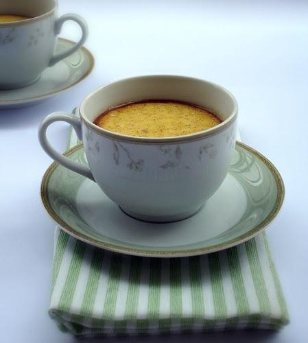 Crème caramel in tea cups