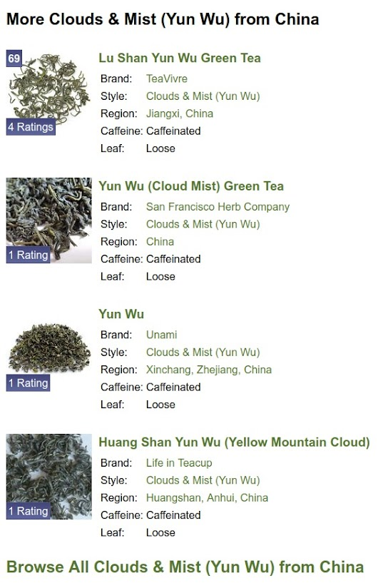 New Recommendations on Each Tea's Page