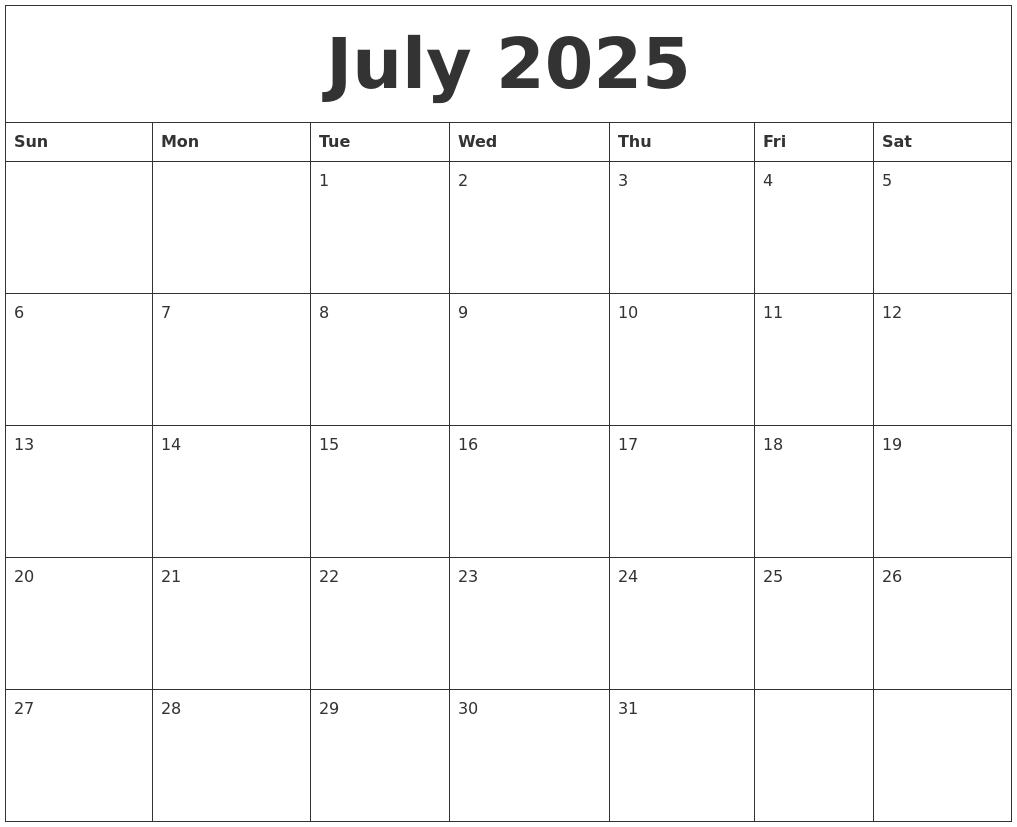july 2025 birthday calendar template