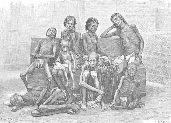 Un grabado antiguo de las víctimas de la hambruna, 1885